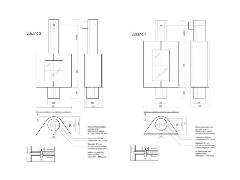 drehbarer kamin vulcano mit aufsitzendem schornstein. Black Bedroom Furniture Sets. Home Design Ideas